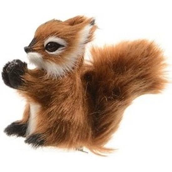 1x Kerst hangdecoratie op clip bruin eekhoorntje 8 cm
