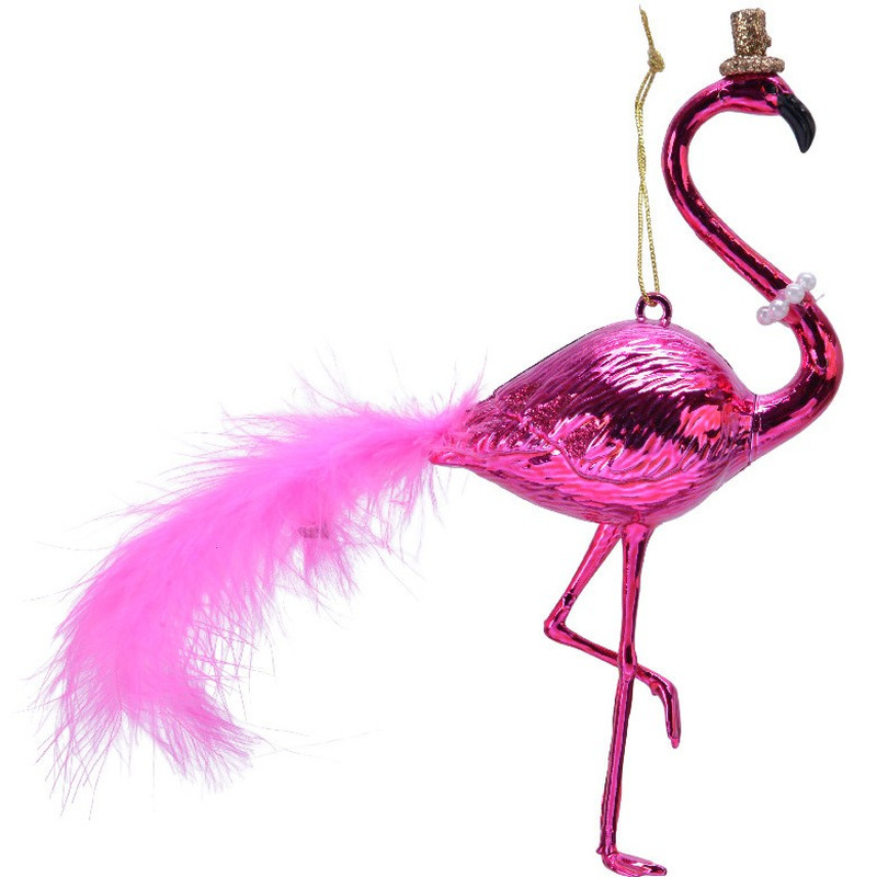1x Kerstboomhanger flamingo van 15 x 17 cm