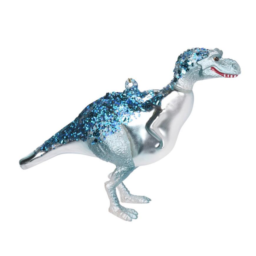 1x Kerstboomversiering dinosaurus ornamenten blauw 12 cm