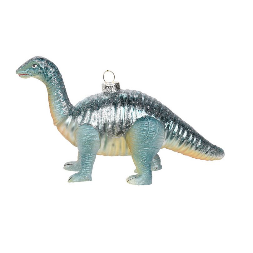 1x Kerstboomversiering dinosaurus ornamenten blauw 17 cm