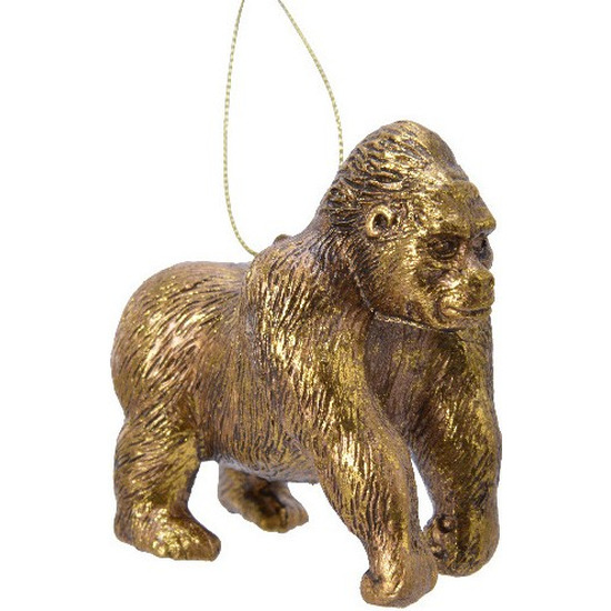 1x Kerstboomversiering gorilla ornamenten goud 9 cm