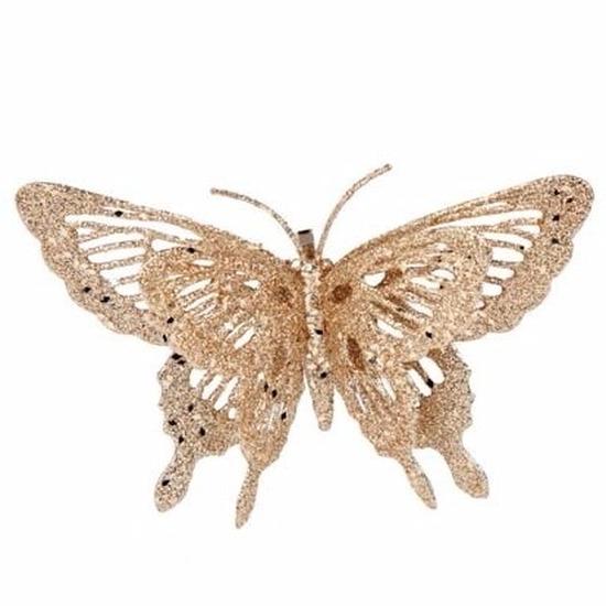 1x stuks Kerstboomversiering glitter vlinder goud op clip 15 x 11 cm
