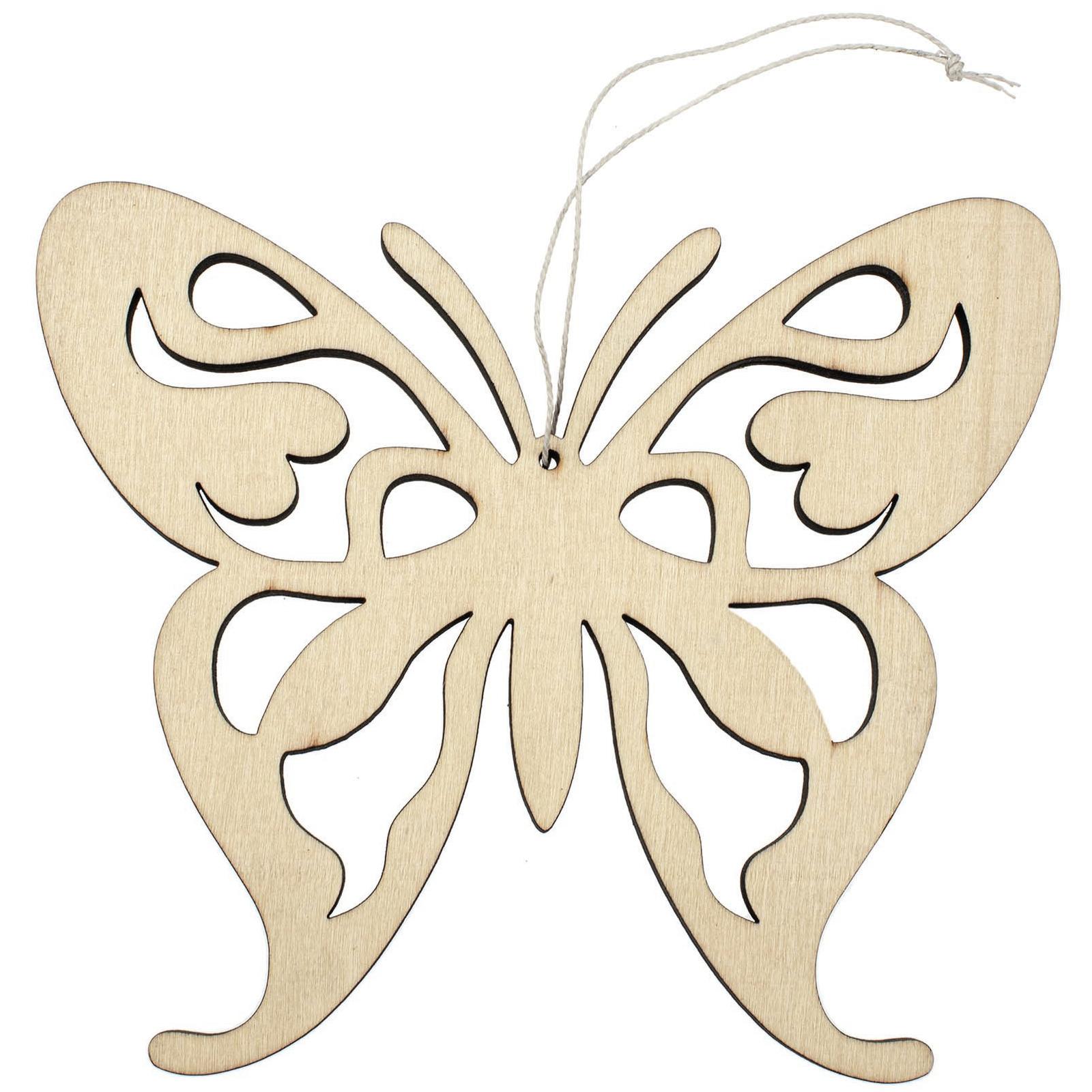 1x Vlinders ophang decoratie van hout 16,5 x 14 cm