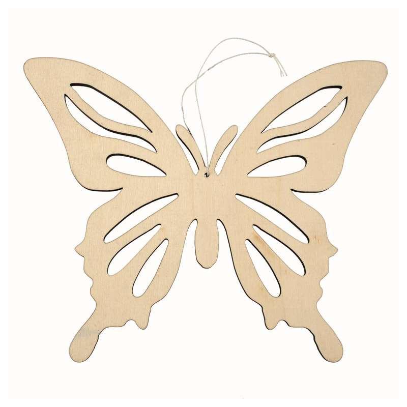 1x Vlinders ophang decoratie van hout 19 x 23,5 cm