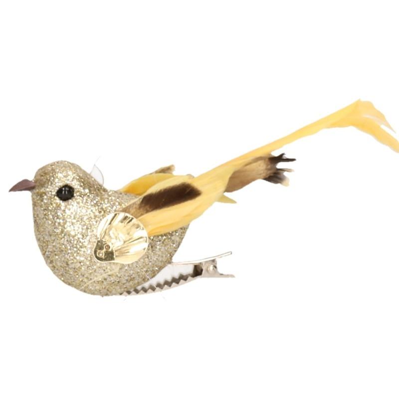 1x Vogel op clip goud 10 cm