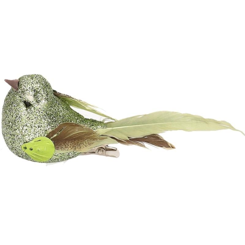 1x Vogel op clip groen 10 cm