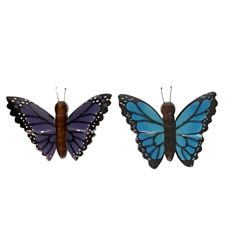 2 stuks Houten koelkast magneetjes in de vorm van een blauwe en paarse vlinder