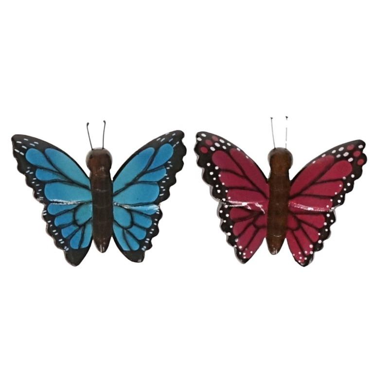 2 stuks Houten koelkast magneetjes in de vorm van een blauwe en roze vlinder
