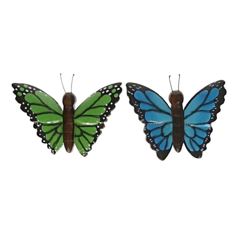 2 stuks Houten koelkast magneetjes in de vorm van een groene en blauwe vlinder