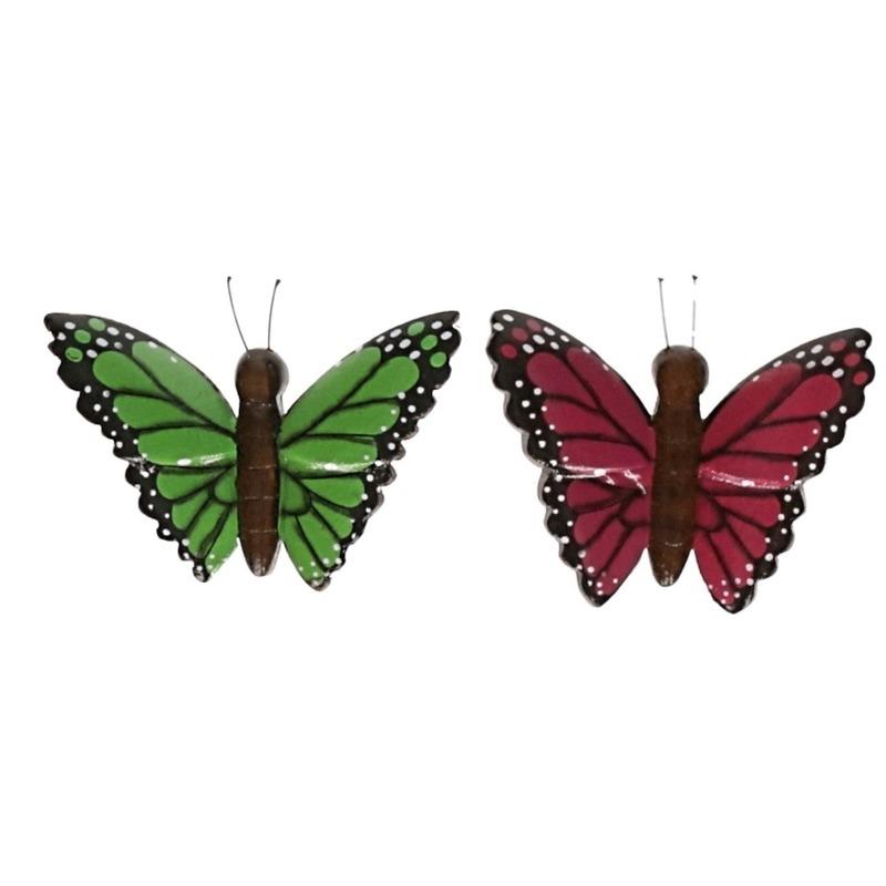 2 stuks Houten koelkast magneetjes in de vorm van een groene en roze vlinder