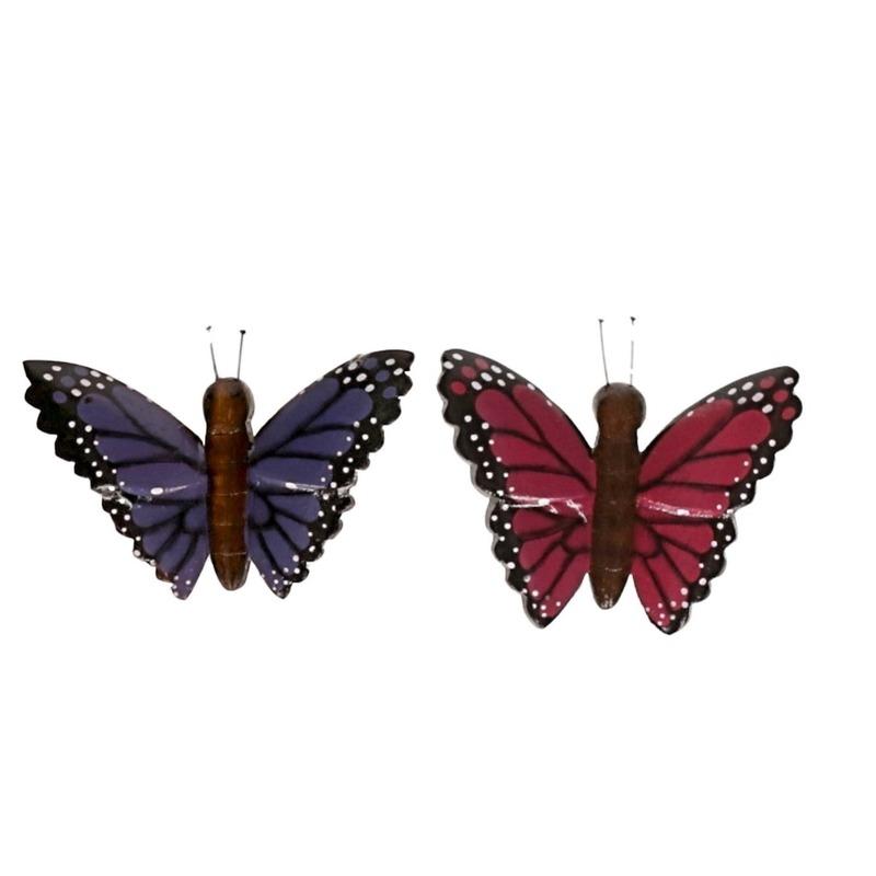 2 stuks Houten koelkast magneetjes in de vorm van een paarse en roze vlinder