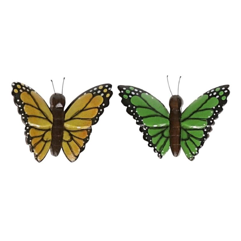 2 stuks Houten koelkast magneten in de vorm van een gele en groene vlinder