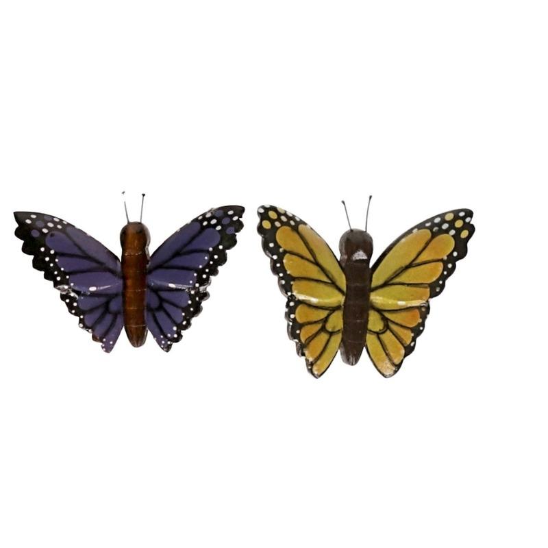 2 stuks Houten koelkast magneten in de vorm van een gele en paarse vlinder