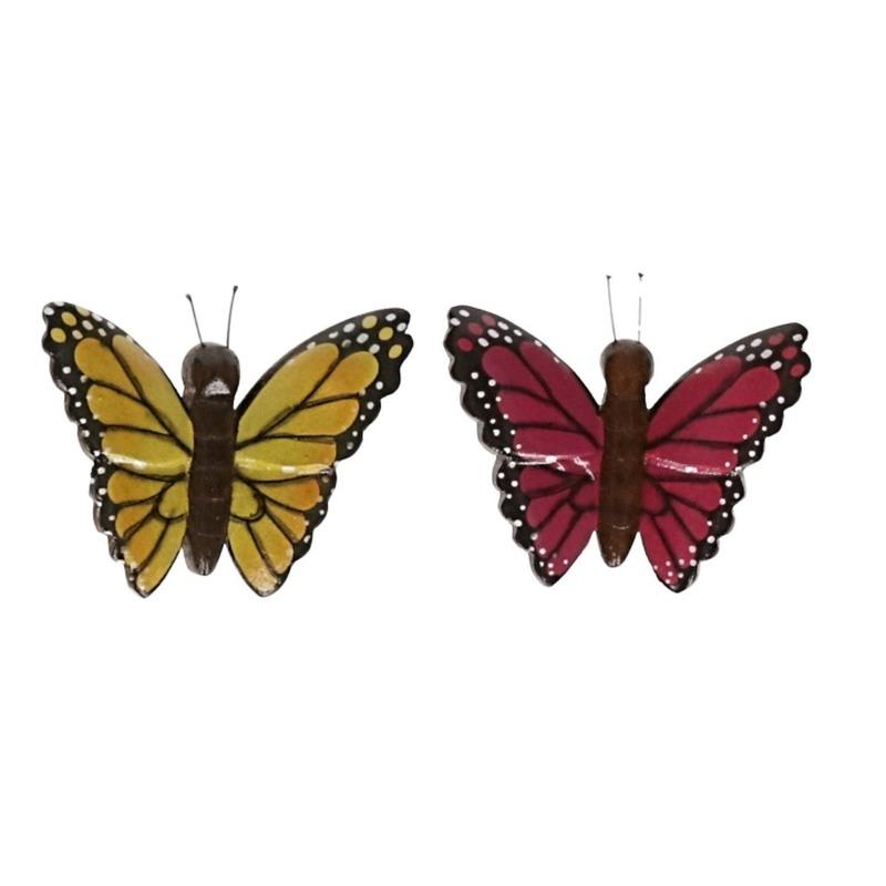 2 stuks Houten koelkast magneten in de vorm van een gele en roze vlinder