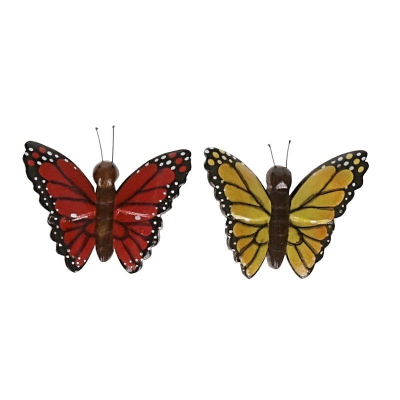 2 stuks Houten koelkast magneten in de vorm van een rode en gele vlinder