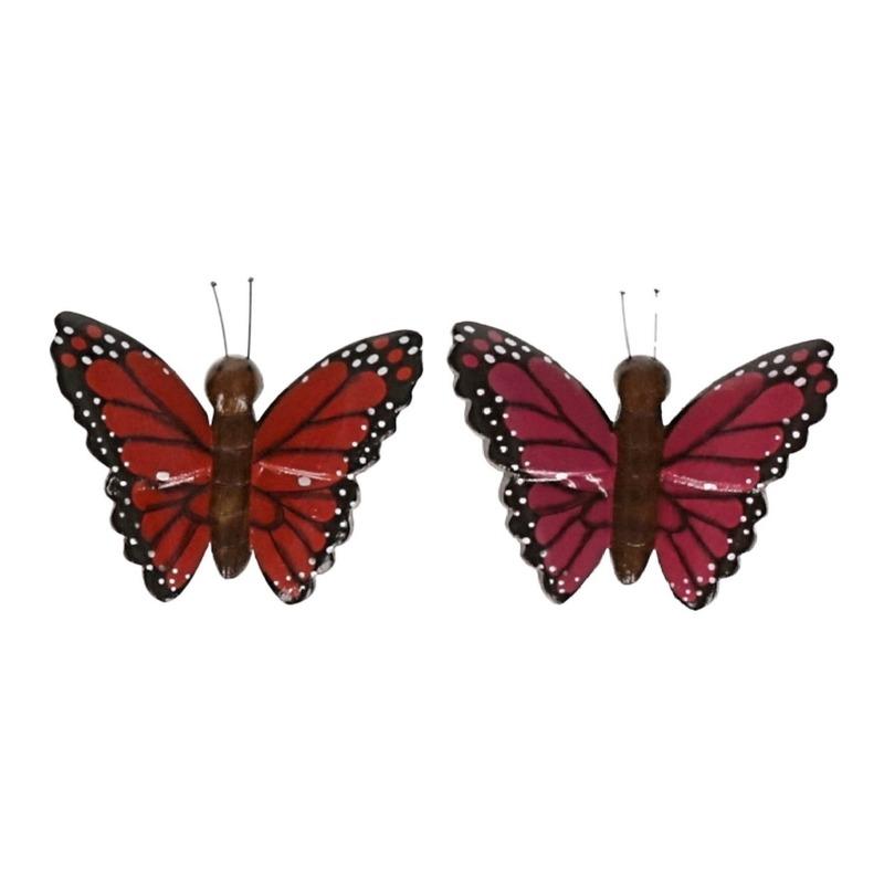 2 stuks Houten koelkast magneten in de vorm van een rode en roze vlinder