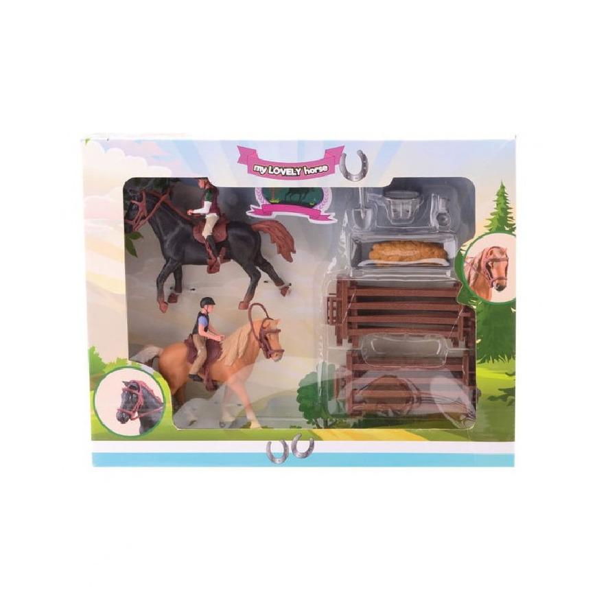 21-Delige plastic paarden speelset bruin/zwart