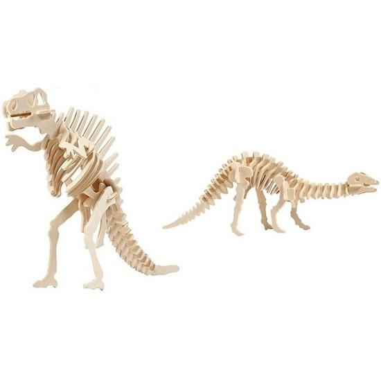 2x Bouwpakketten hout Spinosaurus en Apatosaurus dinosaurus