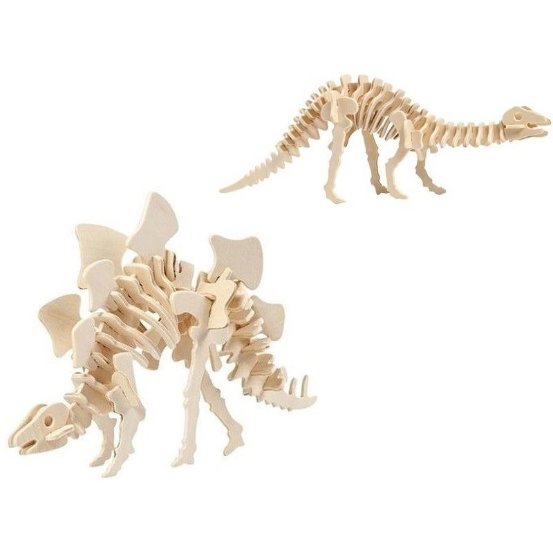 2x Bouwpakketten hout Stegosaurus en Apatosaurus dinosaurus
