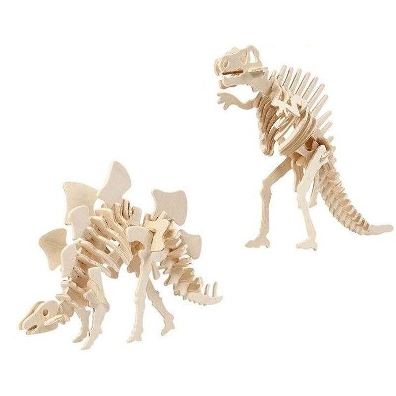 2x Bouwpakketten hout Stegosaurus en Spinosaurus dinosaurus