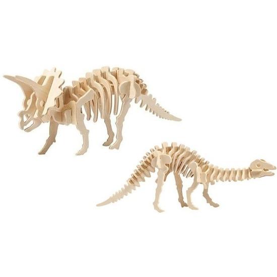 2x Bouwpakketten hout Triceratops en Apatosaurus dinosaurus