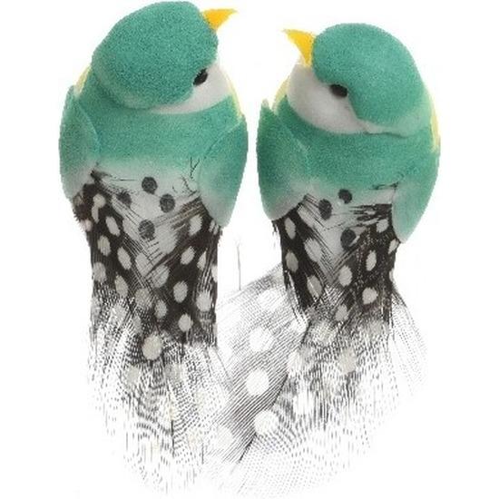 2x Decoratie vogeltje donker mintgroen 6 cm op ijzerdraad met echte veren