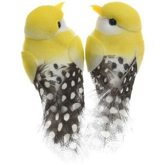 2x Decoratie vogeltje geel 6 cm op ijzerdraad met echte veren