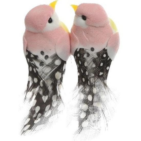 2x Decoratie vogeltje lichtroze 6 cm op ijzerdraad met echte veren