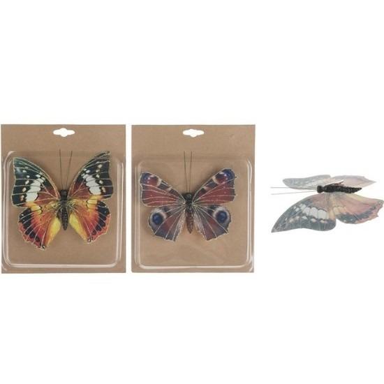 2x Hobby decoratie vlinders op clip 17 cm