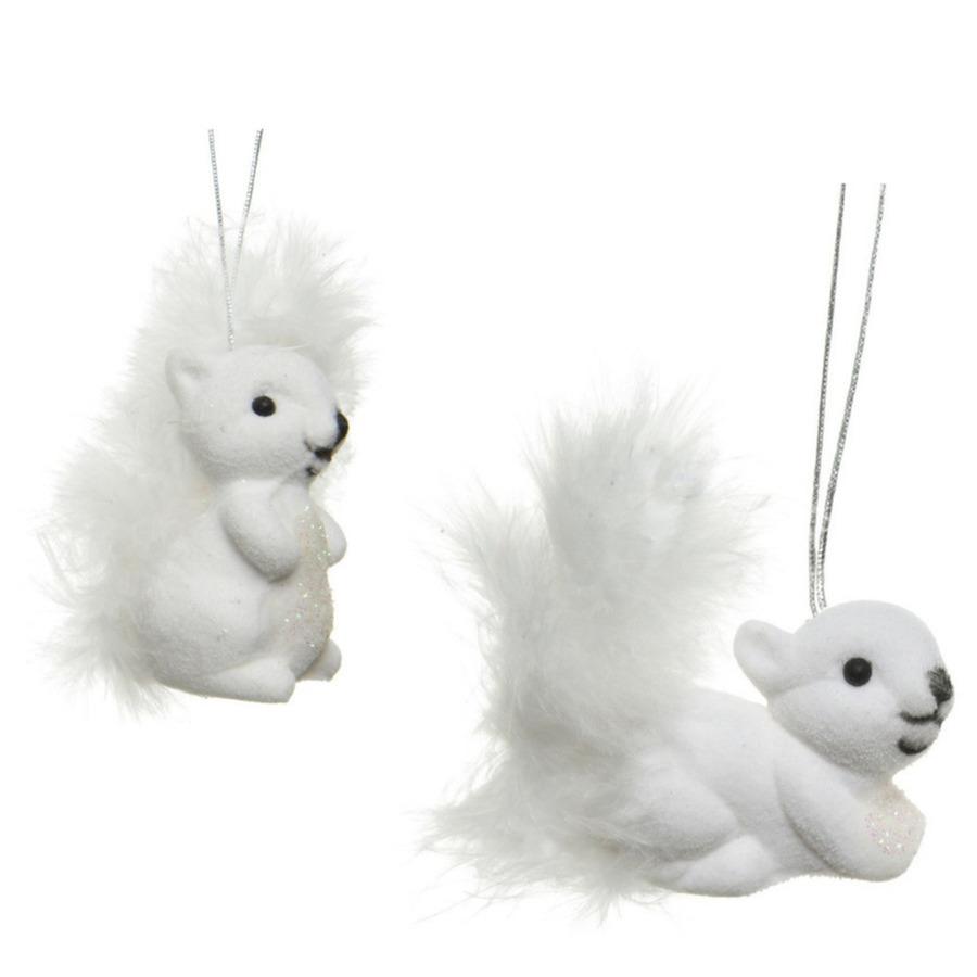 2x Kerstboomversiering eekhoorn ornamenten wit 6 cm