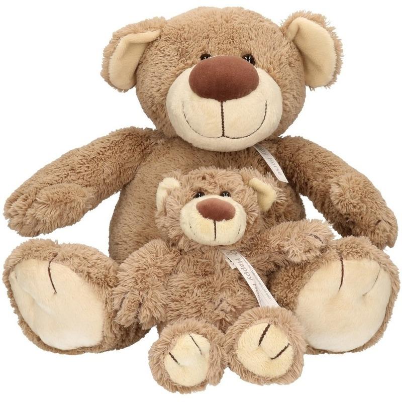 2x Lichtbruine Happy Horse moeder en kind beren knuffels Bella 40 en 22 cm knuffeldieren