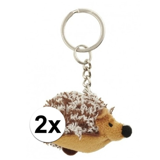 2x Mini egel knuffel sleutelhangers 6 cm