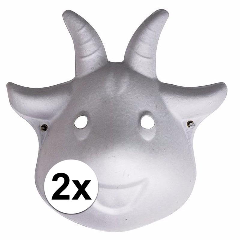 2x Papieren geiten masker 22 cm