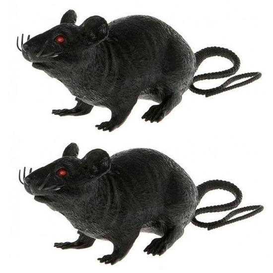 2x Plastic decoratie ratten zwart 22 cm