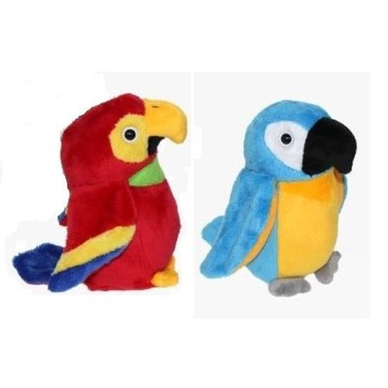 2x Pluche ara papegaai knuffels 15 cm