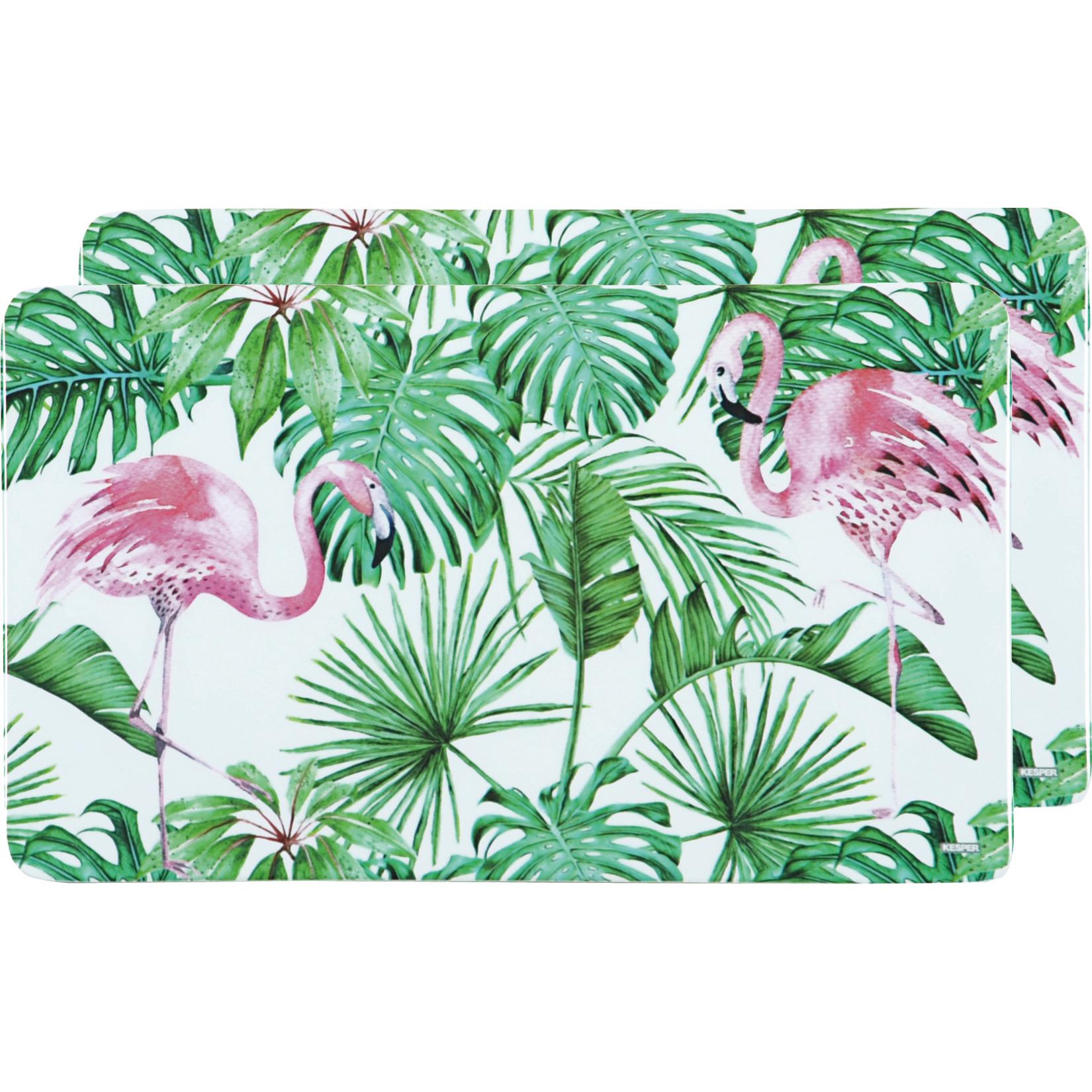 2x Rechthoekige kunststof bordjes/plankjes met flamingo print voor kinderen