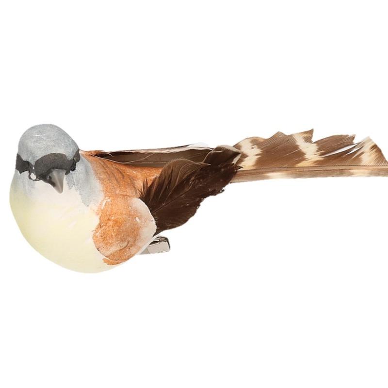 2x Vogel op clip bruin/wit 9 cm