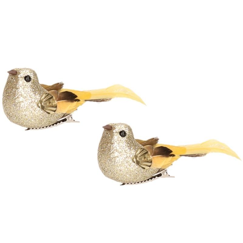 2x Vogel op clip goud 10 cm