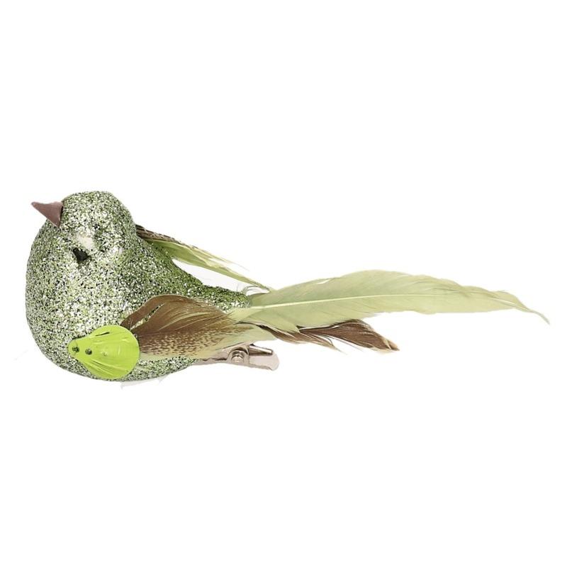 2x Vogel op clip groen 10 cm