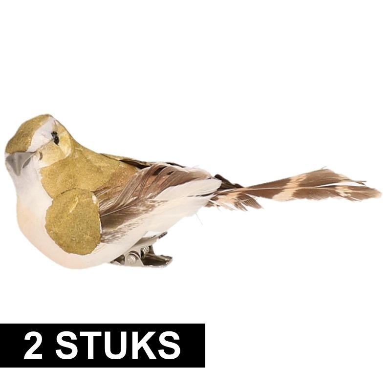 2x Vogel op clip groen/wit 9 cm