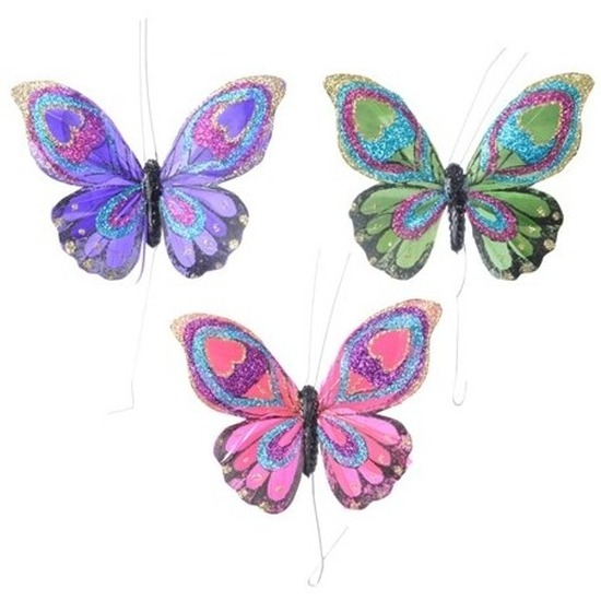 3 stuks Decoratie vlindertje paars groen en roze 9 cm van echte veren