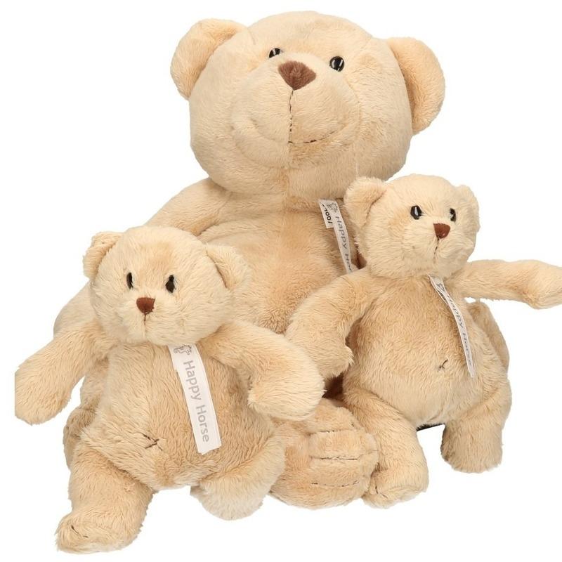 3x Beige Happy Horse moeder en kind beren knuffels Buster 40 en 23 cm knuffeldieren