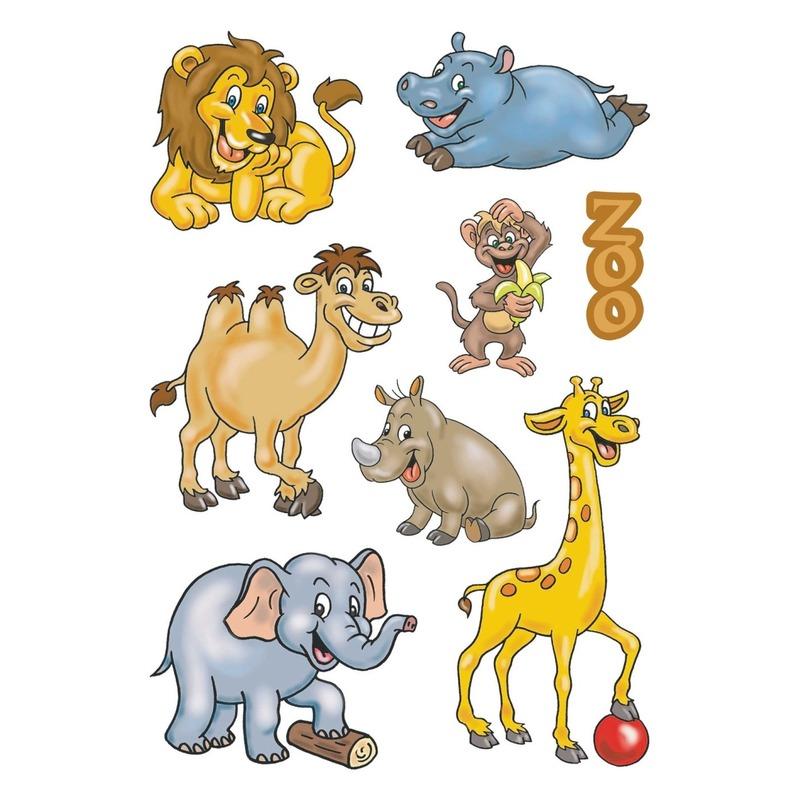 3x Dierentuin dieren stickervellen met 8 stickers