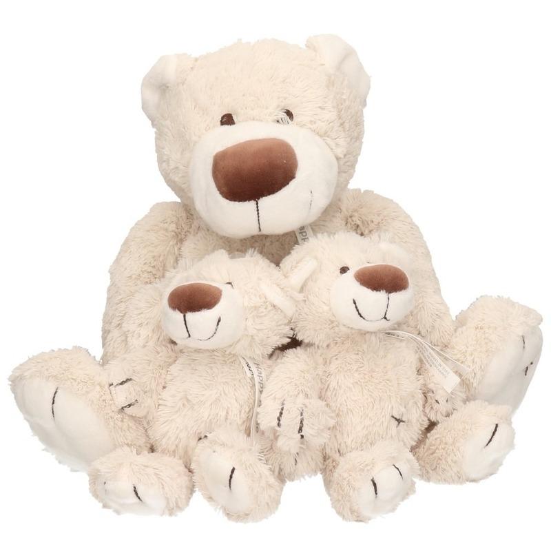3x Grijze Happy Horse moeder en kindjes beren knuffels Baggio 40 en 22 cm knuffeldieren