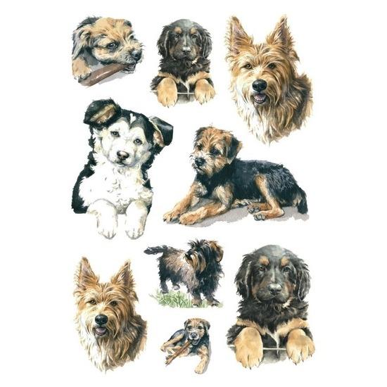 3x Honden stickervellen met 9 stickers