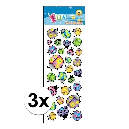 3x Kinder lieveheersbeestje stickers