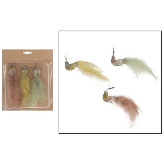 3x Kunststof gekleurde pauwen vogels op clip 19 cm