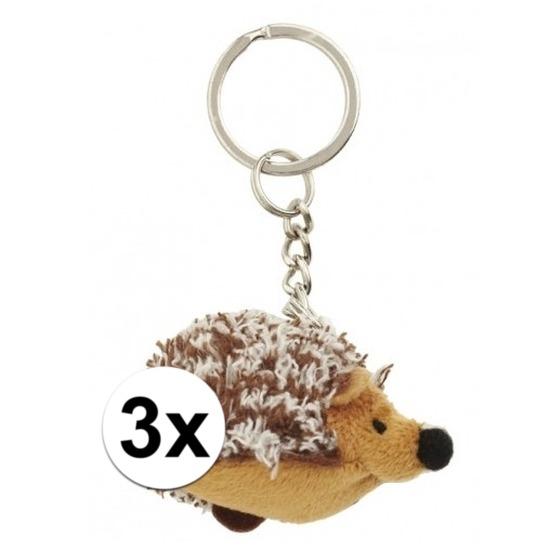 3x Mini egel knuffel sleutelhangers 6 cm