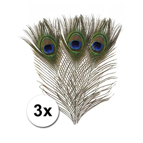3x Pauwenveren 25 cm