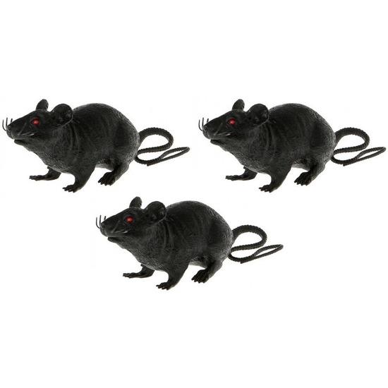 3x Plastic decoratie ratten zwart 22 cm